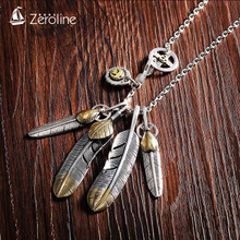 925 Silver Feather Necklace Men's Takahashi Goro Goros Sweater Chain Female Town Soul Shen Zhu Yilong Pendant
