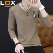The fall of man long sleeved T-shirt V neck sweater Korean clothes slim wear men's shirt shirt tide male autumn clothes