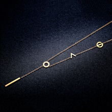 LOVE 18K Rose Gold Pendant Necklace all-match European temperament diamond short letter simple female fashion chain clavicle