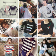 Summer 2017 new female Korean striped short sleeved t-shirt female student all-match loose Hong Kong style retro chic jacket