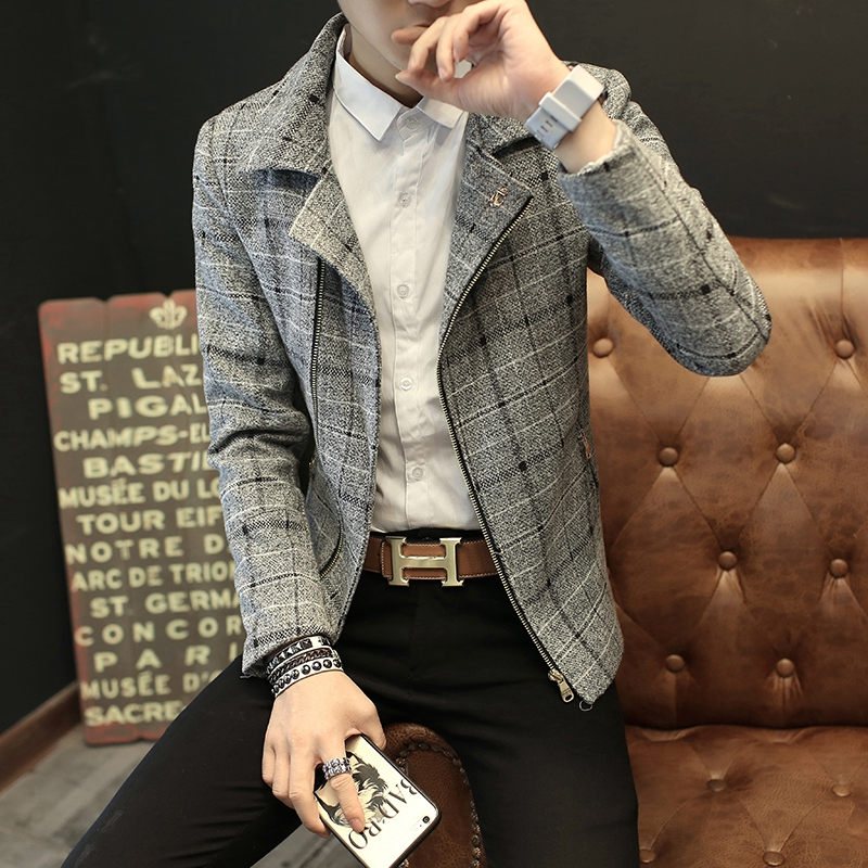 The spring and autumn of 2017 new men's jacket men spring coat woolen Korean slim men's personality trend of spring