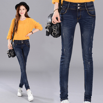 2016 winter velvet Korean version not thickened elastic thin slim slimming waist denim pants in a tight little feet girl