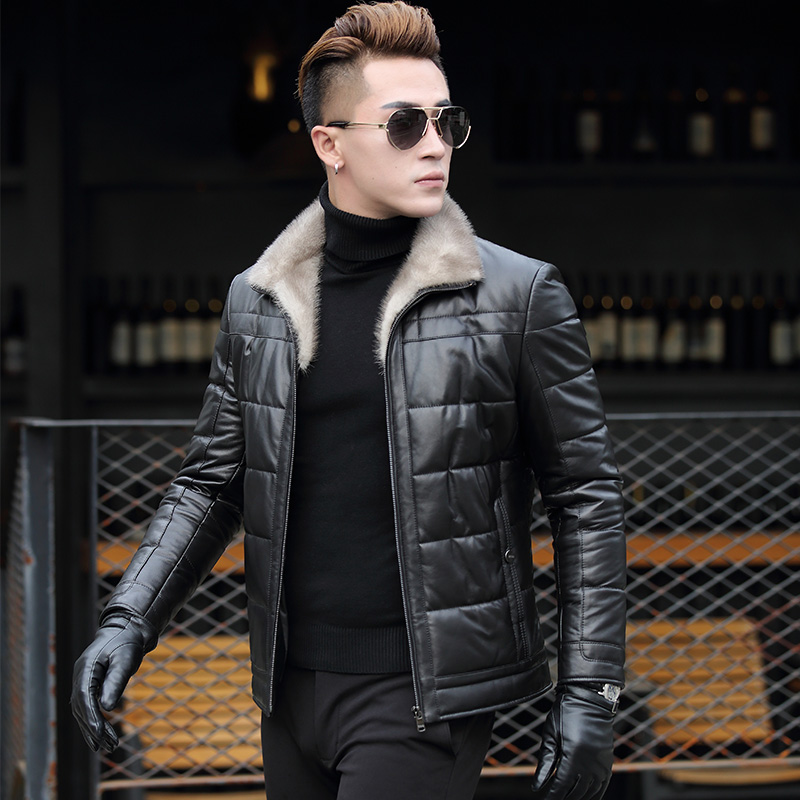 真皮羽绒服男海宁男士皮衣中年皮袄加绒貂皮大衣冬季水貂皮草外套