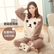 The spring and autumn and winter winter Coral Fleece Pajamas female thickened lady lovely cartoon long sleeved flannel suit Home Furnishing