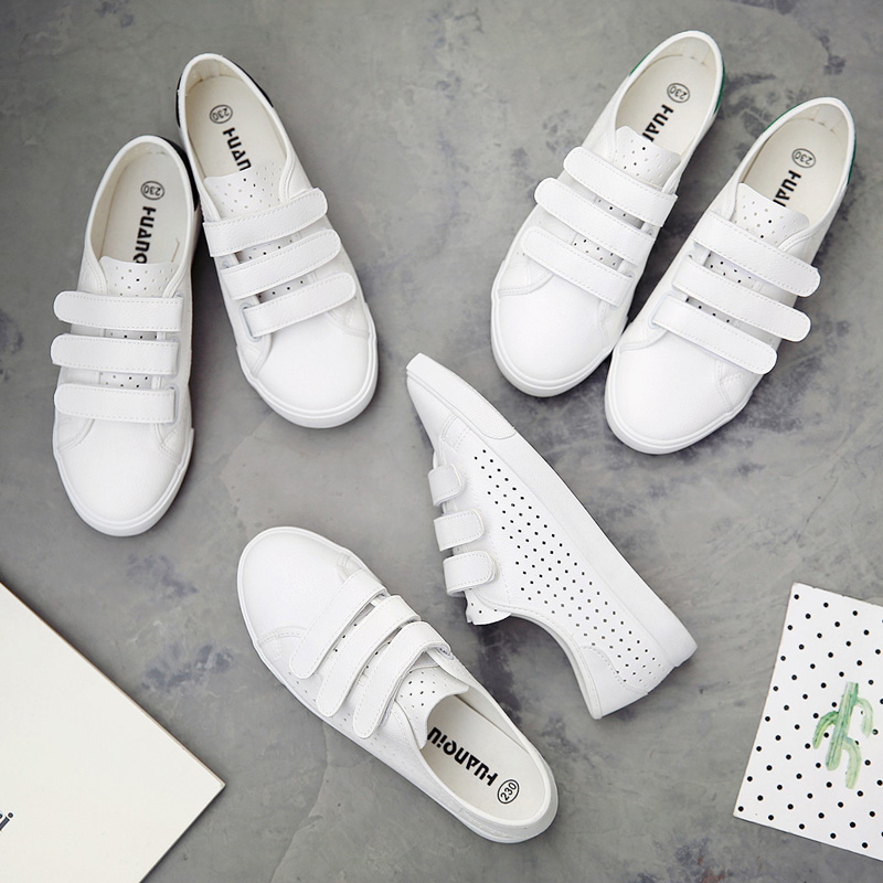 Korean summer magic leisure white shoe female student all-match breathable canvas shoes female flat shoes Crocs