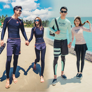 South Korea split wetsuit quick-drying zipper sunscreen jellyfish men and women long-sleeved swimwear surf suits couple sets