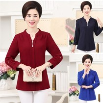 Spring and autumn middle and old aged womens long sleeve chiffon shirt MOM 40-50V neck base small shirt shirts tops