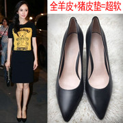 2017 spring and autumn new shoes, leather shoes, black tips, heel, professional heels, size 3241