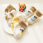 5 pairs of winter cotton terry cute baby socks Tricholoma newborn babies aged 0-1-3 thick warm socks