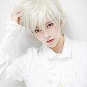 Korean handsome silver gray white wig and realistic grandmother Cosplay Jin Mu animation with men's temperament