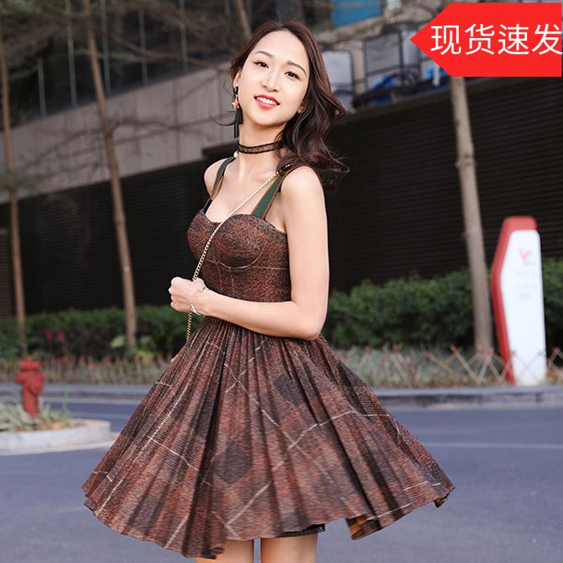 【地球店】咖色格子绿色针织连衣裙女吊带罩杯抹胸百褶连衣裙