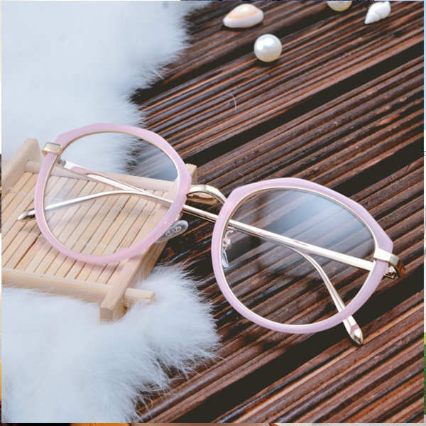 Fashion cute pink round frame, big frame, small face with optical myopia eyes, South Korea 2016 men and women glasses