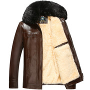 Anti season clearance plus large fur leather cashmere thickened winter jacket in middle-aged male father old winter jacket