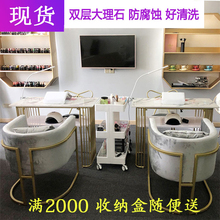 Nordic Red Marble Nail Shop Decoration Table and Chair Set Single and Double Nail Table and Manicure Table Simple and Modern
