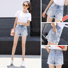 Denim shorts female summer 2018 new high waist hole Korean version of the wild students loose chic chic short hot pants