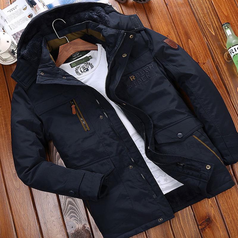 悍踏JEEP RICH棉衣男士中长款冬季加绒加厚棉服宽松棉袄冬装外套