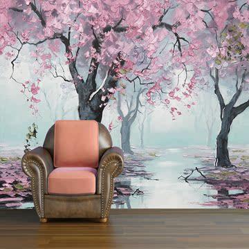 电视背景墙壁纸现代简约客厅卧室背景墙纸欧式大型壁画 树林风景