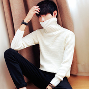 The winter men's sweater round neck turtleneck sweater hedging thickening trend of Korean leisure sweater jacket tide