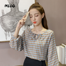 Korean version of the chic all-match bubble sleeve ruffles doll shirt blouse shirt sleeved loose Plaid tie autumn