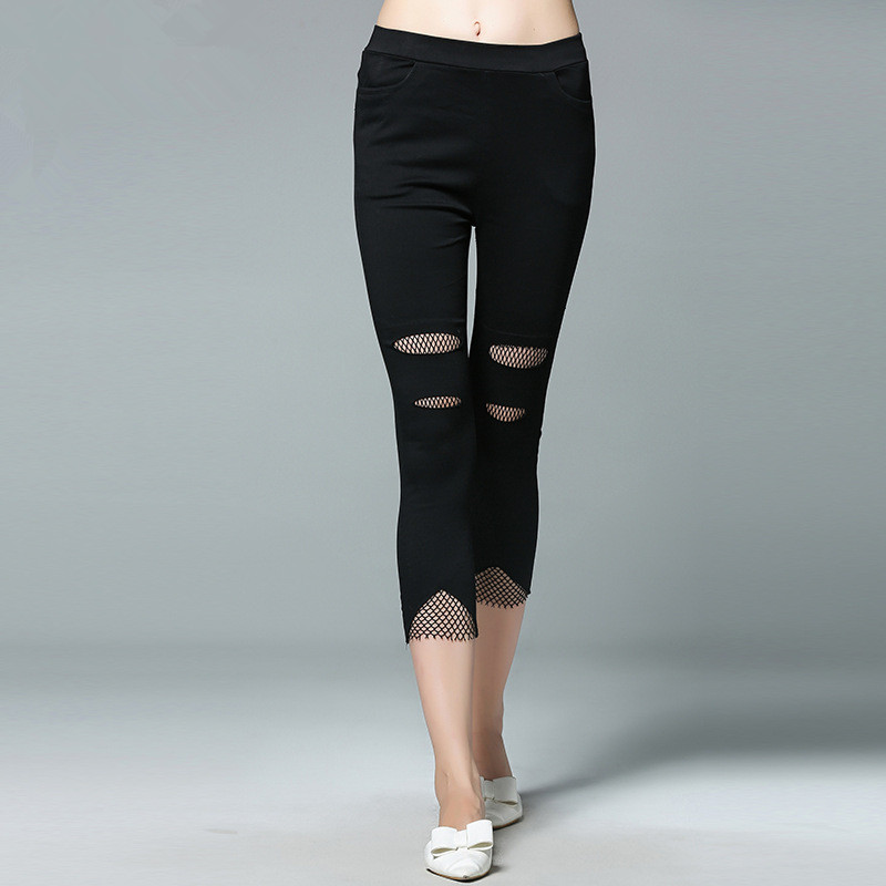 2017 European fashion large size MM slim hole summer fat pants elastic waist Leggings Pants seven female.
