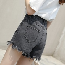 Smoke gray denim shorts female summer 2018 new Korean high waist loose irregular flash a wide leg hot pants