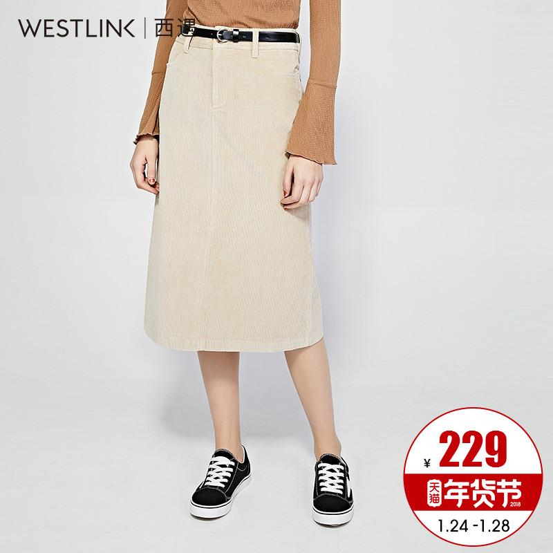西遇女装2018春季新款灯芯绒直筒半身裙后摆开衩中长裙简约一步裙