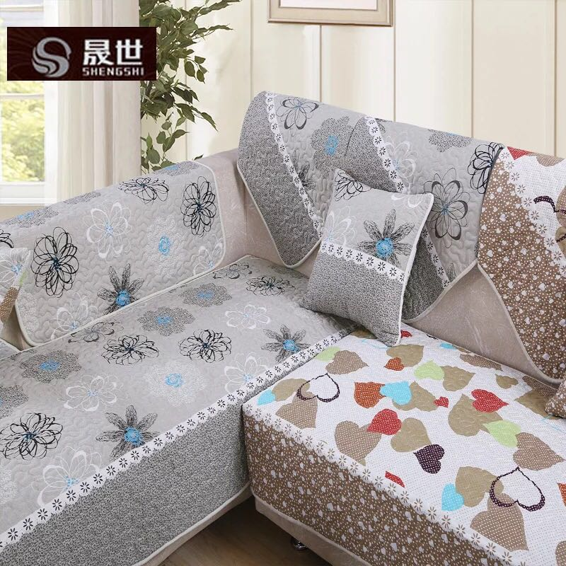 Linen sofa cushion cotton fabric in spring and summer seasons thick skins cover simple modern yellow sofa towel