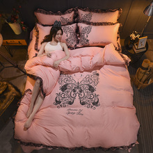 Satin Lace bedspread household textile couple bedroom sets of four sets of super soft European lace bedspread