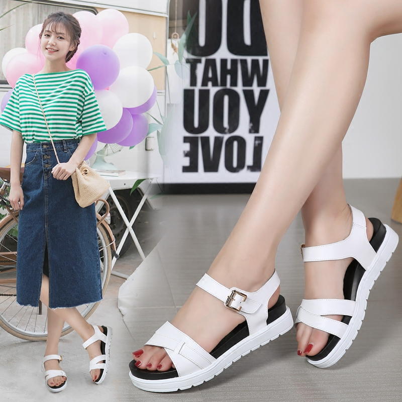 Han edition flat sandals female summer 2017 new students contracted joker thick with peep-toe antiskid shoes in the bottom