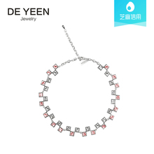 Clothing 23 rent DE YEEN Crystal Necklace Women's Necklace Chain Platinum Plated Collar Accent Jewelry Neck Accessories