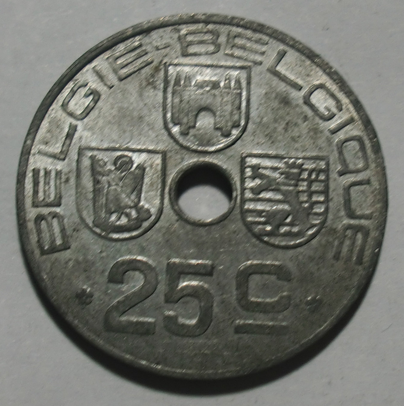 AU Belgium 1944 25 cent zinc currency BELGIE-BELGIQUE