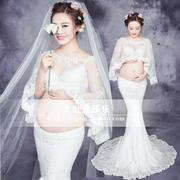 Rent a pregnant woman with white lace fairy son clothing studio pictures photography portrait dress beautiful costumes