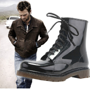 Beware of slippery fashion men's spring and summer short tube low waterproof overshoes Martin boots male size car boots