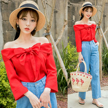 2017 Korea chuu summer new Korean Strapless short sleeved shirt collar shirt woman
