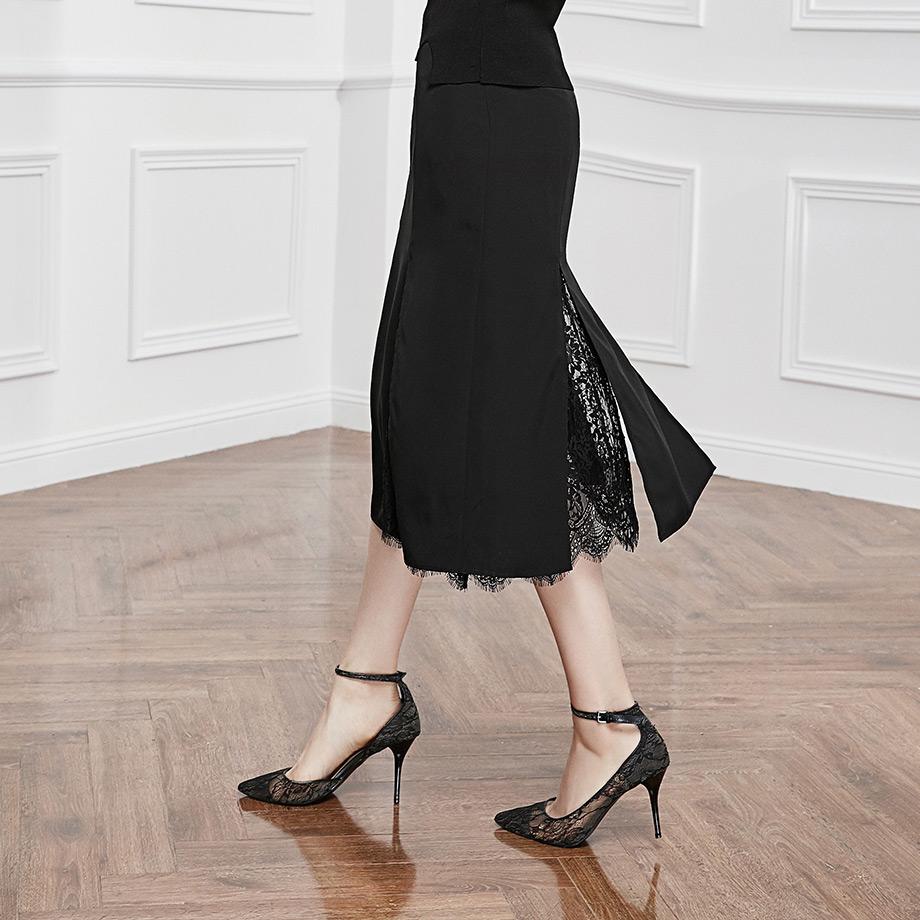 尘颜新款开衩裙子黑色蕾丝拼接镂空A字裙中长半身裙夏装D313