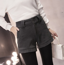 Wool shorts female winter 2017 large yards wide leg pants thick boots pants backing wear straight pants