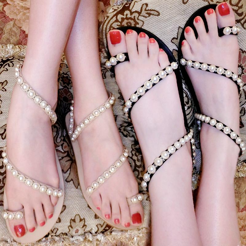 新款夏欧美波西米亚平底凉鞋女珍珠沙滩鞋套脚学生夹趾平跟凉拖鞋