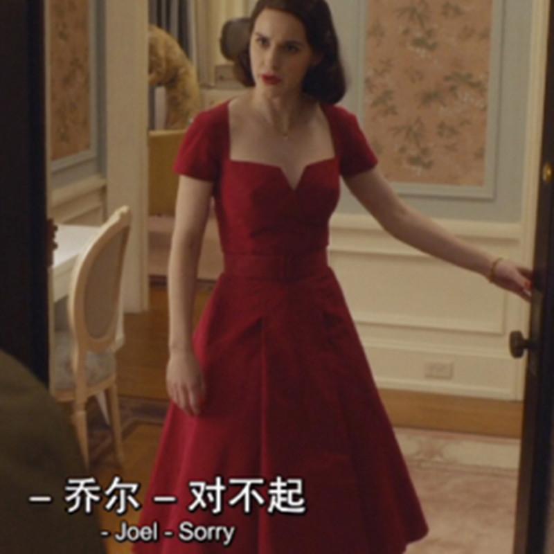了不起的麦瑟尔夫人女士同款中长款修身显瘦名媛宴会礼服连衣裙