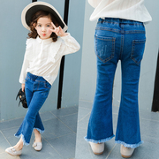 Girls Jeans 2017 new spring children female baby pants pants pants and tassels