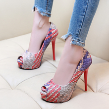 The spring and Autumn New Korean high heels club 12CM waterproof sexy with a fine color fish mouth shoes female occupation