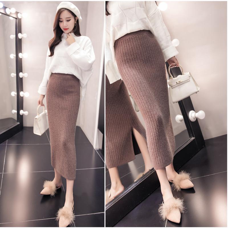 加厚秋冬季新款螺纹坑条H型高腰显瘦打底半身裙包臀长裙女