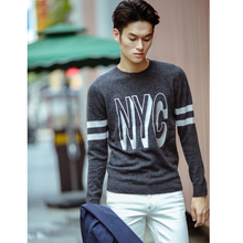 High street fashion tide brand men T-shirt sweater embroidered letter basic set of head section of woolen sweater