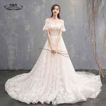 light wedding dress 2018 new was thin word forest Department of trailing princess large size dream Qiqi Hepburn bridal dress