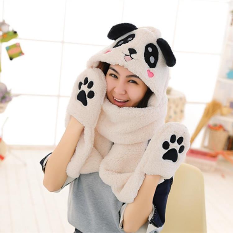 包邮加厚卡通熊猫连体帽 帽子围巾手套一体三件套 儿童帽亲子帽子