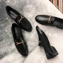 Uncle home 2018 spring and summer Europe and the United States round low-heeled shoes flat shoes with flat metal buckle shoes lazy shoes 3cm