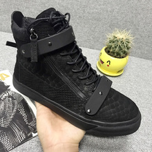 Hong Kong autumn and winter high shoes Europe station gz men's shoes plus velvet leather serpentine tide shoes cl men's shoes metal buckle casual shoes
