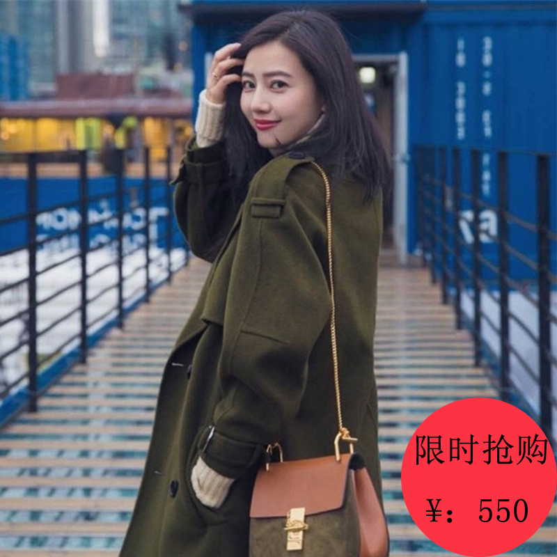 High round with new star with double-faced cashmere coats for fall/winter wool woolen cloth coat girl long