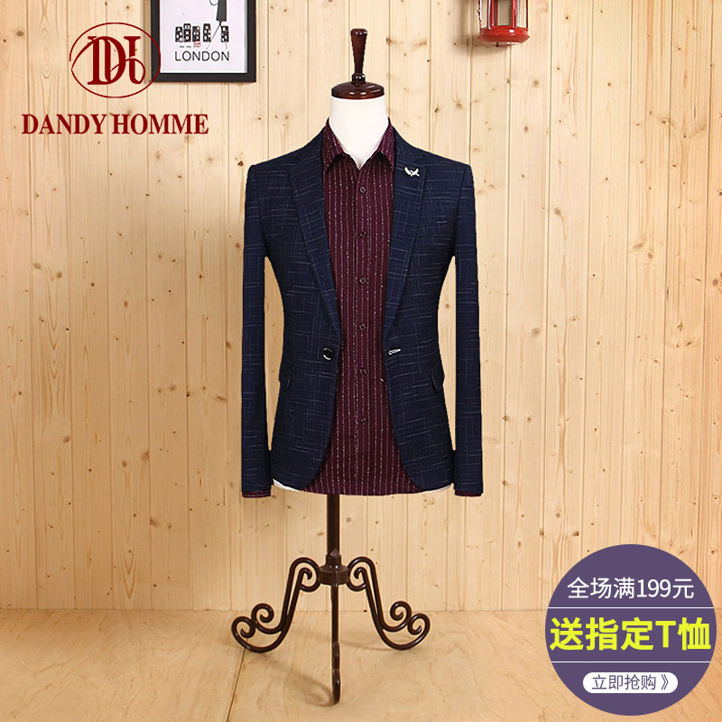 Dandyhomme spring age men's slim suit, Korean style tide, gentleman's single, west blue, British business suit tide