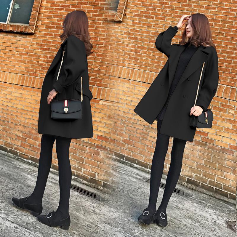 毛呢外套女中长款韩版2017新款冬装显瘦加厚黑色小个子呢子大衣潮