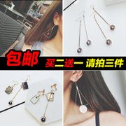 Korean jewelry earrings earrings long tassel geometric temperament female non pierced ear clip earrings pendant earrings personality